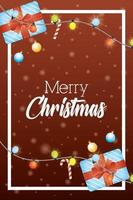 merry christmas card with gifts and lights