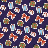 tarjeta de feliz navidad con regalos y patrón de lazo