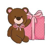 Lindo oso de peluche con icono aislado de caja de regalo vector