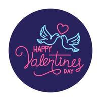 feliz día de san valentín etiqueta en luz de neón, día de san valentín vector