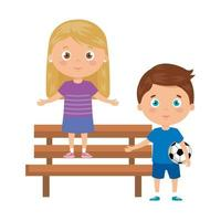 children with playing with soccer ball on park chair vector