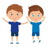 handsome boys standing on white background vector