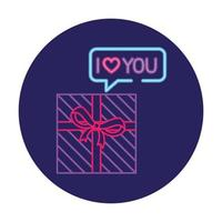 gift box with ribbon in neon light, valentine day vector