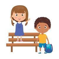 children with school supplies in park chair on white background vector