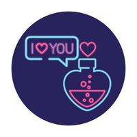 bottle with heart shaped in neon light, valentine day vector