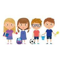 scene children standing on white background vector