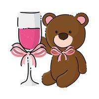 Lindo oso de peluche con copa de champán icono aislado vector