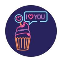 cupcake in neon light, valentine day