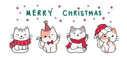 cute cartoon doodle kitten cat banner in winter christmas costume vector