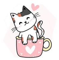 lindo gato feliz en una taza rosa para la celebración de san valentín vector