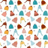 cute knitted beanie winter hat seamless pattern background vector