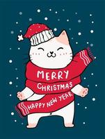 cute cat in red scarf, merry christmas and happy new year vector
