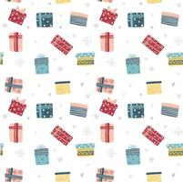Colorful Christmas and New year gift box seamless pattern