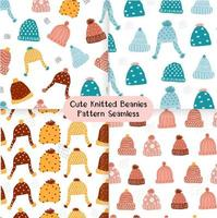 cute knitted beanie winter hat seamless pattern set vector