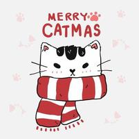 Cute funny cat face with red Christmas scarf