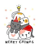 Christmas celebration with tree made of stacked cats vector