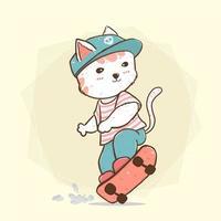 Cute cat skateboarding vector