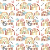 Colorful rainbows in autumn colors seamless pattern background vector