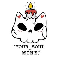 cute skull cat with candle for Halloween celebration vector