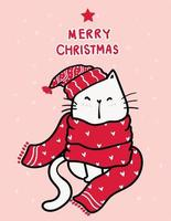 Happy white kitten in a red knitted scarf with Merry Christmas lettering vector