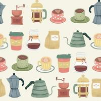 Vintage-style coffee break seamless pattern vector