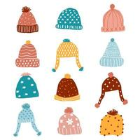 cute knitted beanie winter hat set vector