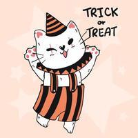 lindo gato disfrazado de bromista para la celebración de halloween vector