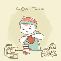 cute hipster barista cat in apron pouring coffee