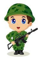 dibujos animados de pequeño soldado vector