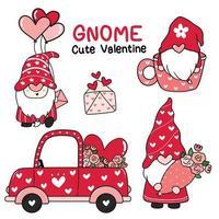 linda colección de gnomos de amor de san valentín vector