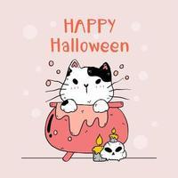 Cute Halloween cat vector