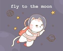 cute astronaut cat with planets vector