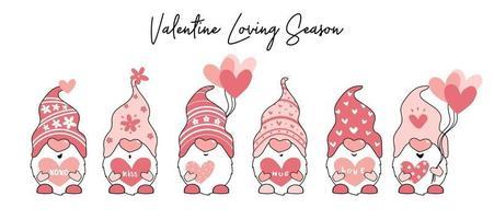 Cute Valentine love gnome collection vector