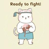 Cute cat in traditional muay thai boxing outfit vector
