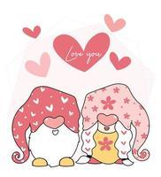 lindos gnomos de San Valentín vector