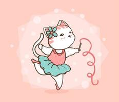 cute cat dancing ballet in a pink and blue green dress vector