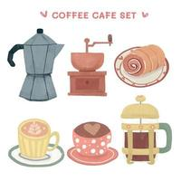 Vintage-style coffee equipment set vector