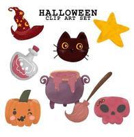 conjunto de iconos de halloween de estilo vintage vector