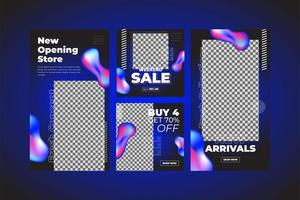 Colorful fluid neon social media template set vector