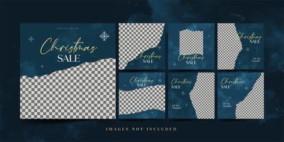 conjunto de plantillas de redes sociales de venta de moda navideña