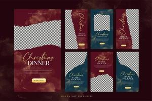 Christmas Food Social Media Sale and Advertising Template Set vector