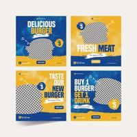 Burger Banner for Social Media Advertising Template Set vector
