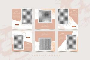 Fashion social media template set with abstract watercolor and torn paper background vector