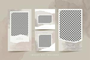 Fashion social media post templates with watercolor background and torn paper premium vector