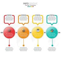 Elementos de infografía empresarial con 4 secciones o pasos. vector
