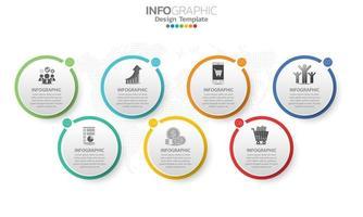 Elementos de infografía empresarial con 7 secciones o pasos. vector