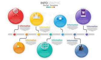 Timeline infographic template with 7 parts vector