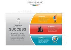 plantilla de infografía vectorial con tres opciones e iconos.