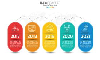 Business timeline infographic elements with 5 sections or steps vector
