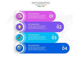 Vector infographic template with four options and icons.